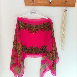 NWOT Bohemian Cover Up Scarf Bolero Gold Chain Pink Pearl details Boho Beach O/S
